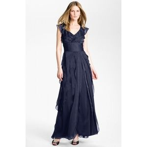 Adrianna Papell Women's Navy Ruffle Pleated Gown